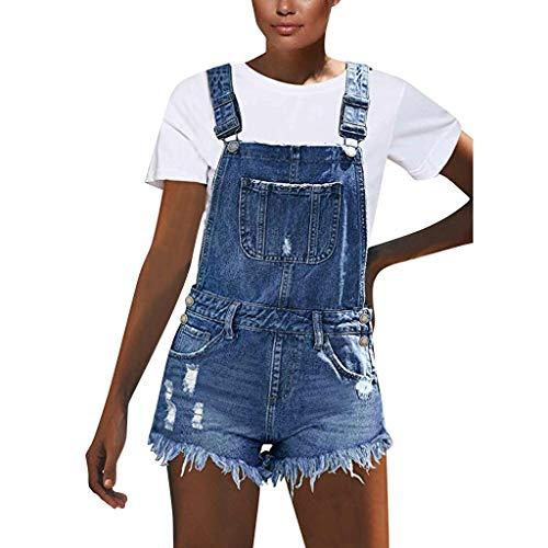 HHyyq Damen Latzjeans Latzshorts Latzhose Hotpants Jeans Shorts Jeansshorts Kurze Hose Mittelhohe Shorts Mit Ausgefranstem Rohem Saum und Jeans Jumpsuit(Blau,S)