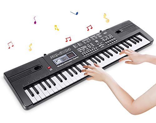RenFox 61 Key Piano Keyboard Portable Keyboard Piano with Microphone and USB Cable Electric Music Piano for Kids Gift Musical Teaching Keyboard Toy for Boys Girls