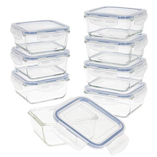 Aktive - Pack 8 Recipientes Herméticos de Vidrio, Tupper Cristal Apto para Microondas, Envases para Comida con Cierre, 550 mililitros, Tapas transparentes, Contenedor de Alimentos, Tapers Cuadrados