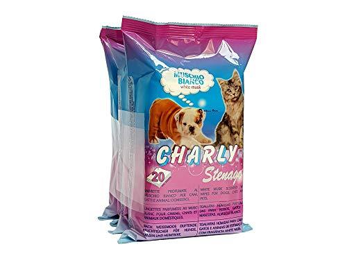 Stenago - Toallitas para perros, gatos y animales domésticos - Pelo brillante y brillante - También para ojos y orejas - Toallitas desinfectantes - 4 paquetes de 20 toallitas (80 unidades)
