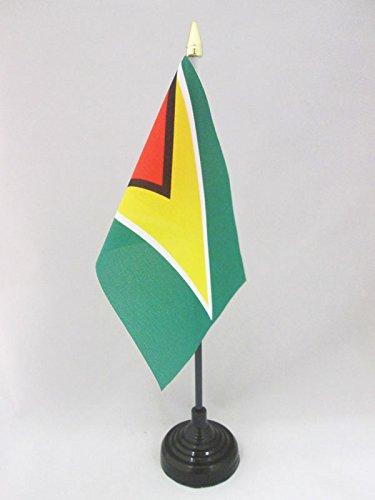 AZ FLAG TISCHFLAGGE Guyana 15x10cm goldene splitze - KOOPERATIVE Republik Guyana TISCHFAHNE 10 x 15 cm - flaggen