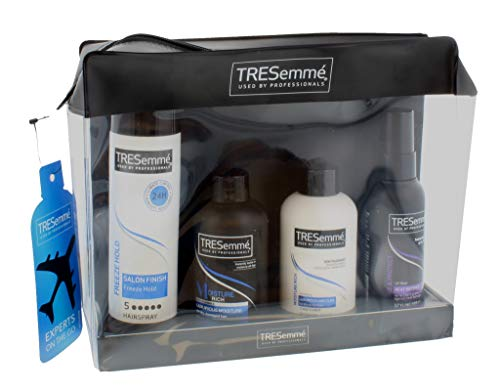 Tresemme Experts On The Go Travel Kit with Wash Bag, Shampoo, Conditioner, Heat Defence Styling Spray & Hairspray