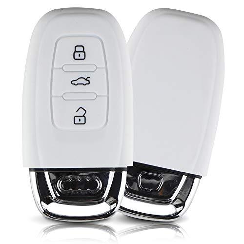 ASARAH Premium Silikon Schlüsselhülle geeignet für Audi, Schutzhülle Autoschlüssel Cover - Weiß AI 3BKL
