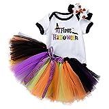 AGQT Disfraces de Halloween para bebés y niñas de Manga Corta Conjunto de Falda de 3 Piezas Tamaño Negro 12-24 Meses