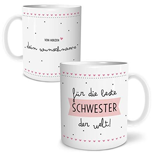 OWLBOOK Beste Schwester Große Kaffee-Tasse mit Spruch im Geschenkkarton Personalisiert mit Namen Geschenke Geschenkideen für Schwester zum Geburtstag Danksagung
