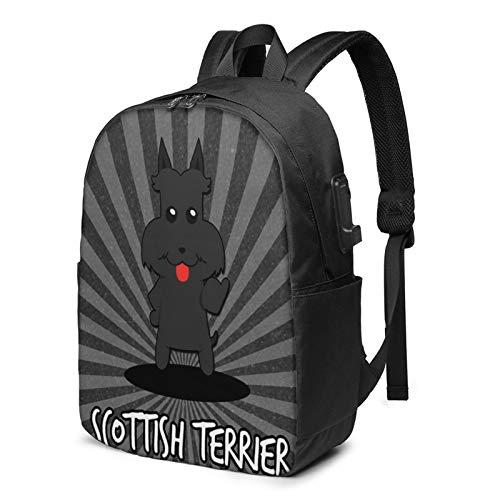 Laptop Backpack with USB Port Scottish Dog 365, Business Travel Bag, College School Computer Rucksack Bag for Men Women 17 Inch Laptop Notebook