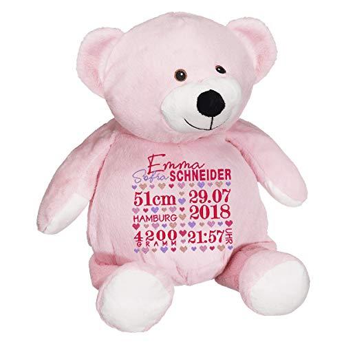 Stofftier, Rosa Kuscheltier Teddybär, Geburt Taufe Geschenk, bestickt mit Geburt Stats - Datum Namenplüschtier