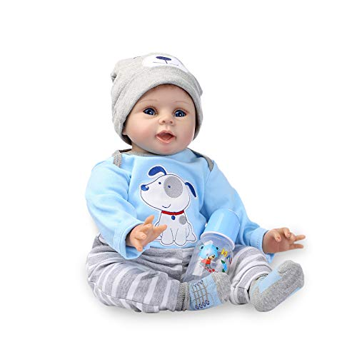 Nicery Reborn Baby Doll Rinato Bambino Bambola Vinyl Molle del Simulazione Silicone 22 Pollici 55cm Bocca Realistico Ragazzo Ragazza Bambina Giocattolo vivido 3 Anni + Blue Dog