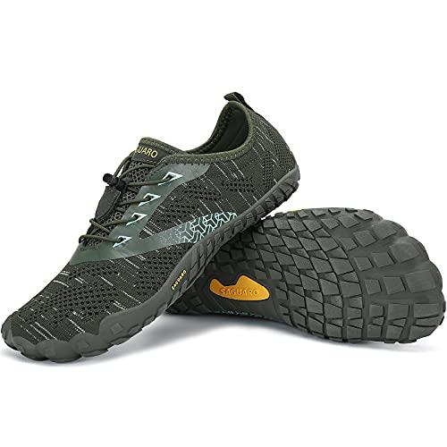 SAGUARO Zapatillas Minimalistas Hombre Zapatillas de Barefoot Mujer Zapatillas de Trail Running Antideslizante Escarpines de Agua Stil: C Verde Gr.46