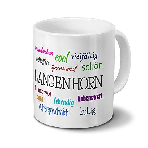 digital print Städtetasse Langenhorn - Motiv Positive Eigenschaften - Stadt-Tasse, Kaffeebecher, Mug, Becher, Kaffeetasse - Farbe Weiß
