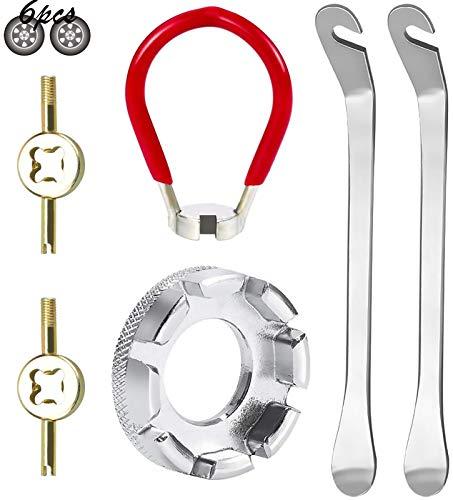 Xinmeng 6 Stück Fahrrad Speichenschlüssel, Nippelspanner Speichenspanner Felgenschloss mit Reifenheber, Ventil Entferner, Fahrrad Felgen Korrektur Set für Speichen Fahrrad Reparieren 10-15G