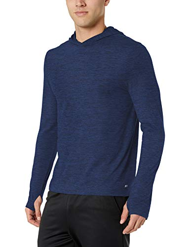 Amazon Essentials Tech Stretch Long-Sleeve Pullover Hoodie athletic-sweatshirts, navy space dye, Large