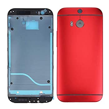 Wangl HTC Spare Full Housing Cover  Front Housing LCD Frame Bezel Plate + Back Cover  for HTC One M8 Red  HTC Spare  Color   Red