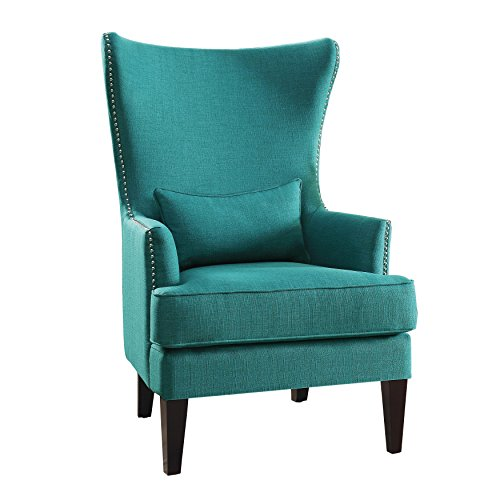 Homelegance Avina Fabric Wingback Chair, Teal