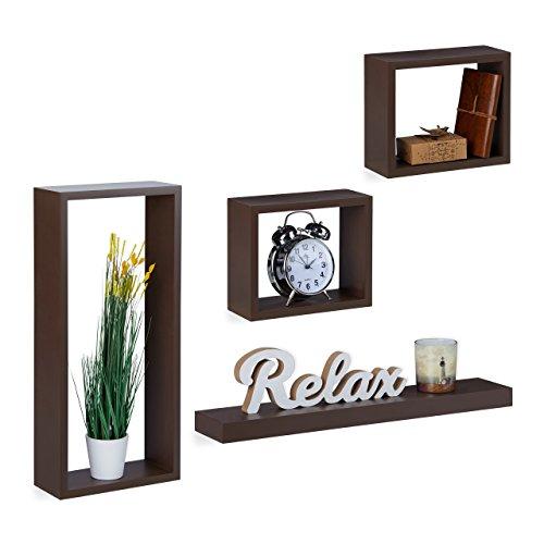 Relaxdays, Cube planken hout, plank vrij zwevend, stabiele hangplanken kinderkamer, MDF, bruin wandrek set van 4, 10 x 52 x 24 cm 1,58 kg