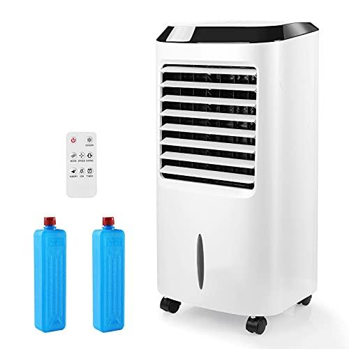 Raffreddatore d'Aria Evaporativo 65W, 3 Modalità 3 Velocità, 8h Timer, 10L Serbatoio d'Acqua, 3 in 1 Raffrescatore Portatile come Ventilatore Più Fresco, Umidificatore e Depuratore, con Telecomando