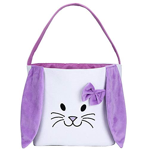 Bunny Easter Basket for Kids Easter Gift Bags Personalized Eggs Hunt Bag with Fluffy Ears,Bunny Tote Bag Candy and Gifts Carry Bucket Easter Decorations