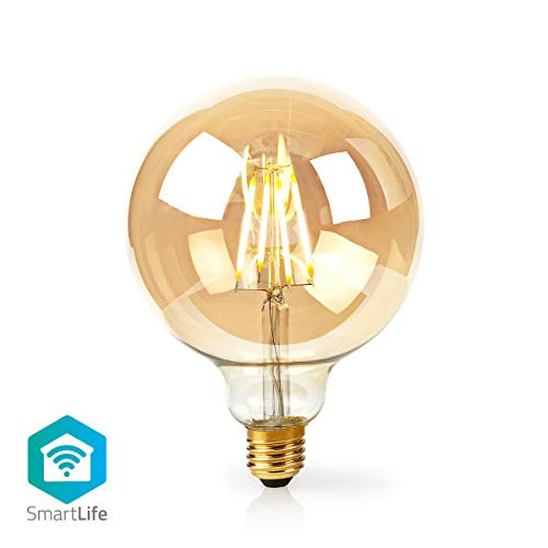 NEDIS - Bombilla de filamento LED inteligente WiFi - E27-125 mm - 5 W - 500 lm - Control por aplicación - Fácil de configurar - Flujo luminoso: 500 lm - Color: dorado - Material: cristal