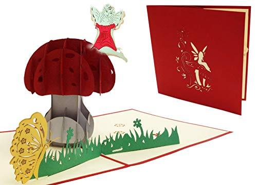 LIN 17572, Pop Up Karte Blumen, POP UP Karten Geburtstag, Pop Up Geburtstagskarte, Grußkarte Geburtstag, Kindergeburtstag, Viel Glück, Gute Besserung, Schmetterling, Fee, N321