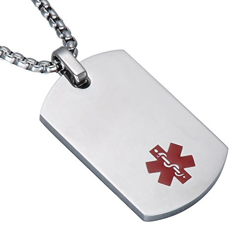 LiFashion LF 316L Stainless Steel Sos Emergency ICE Customized Personalized Medical Alert ID Dog Tag Pendant Caduceus Necklace for Men Women Silver,Free Engraving