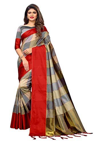 kfgroup Damen Baumwolle Seide Sari Indische Ethnische Kleider Hochzeit Sari mit Bluse - - Einheitsgröße