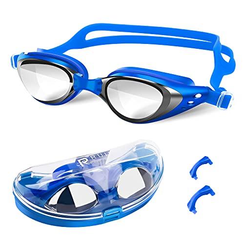 Gafas de Natación Anti-vaho protección UV Gafas Natación Sin Fugas Visión Clara Gafas para Nadar Correa de Silicona Ajustables para Hombres, Mujeres, Adultos y Adolescentes Fáciles de Ajustar Azul
