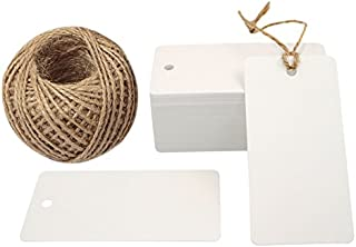"""Kraft Gift Tags,100 PCS White Kraft Paper Gift Tag with 100 Feet Jute Twine String, Rectangle Christmas Gift Tags 3.5"""" x 1.7"""""""