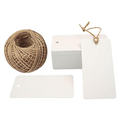 Kraft Tags,100 PCS White Kraft Paper Tag with 100 Feet Jute Twine String, Rectangle Tags 3.5' x 1.7'