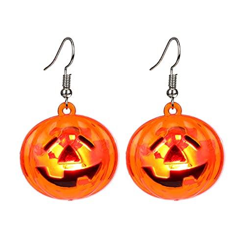 LED Lighted Skull Earrings Halloween Earrings, Glow in The Dark Halloween Earrings, Halloween Theme Party Dangle Earrings, Halloween Pumpkin Earrings for Women and Girls