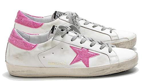 VCEGGDB Zapatillas de deporte de cuero para mujer Zapatos de caminar casuales Super Star Slide, color, talla 40.5 EU
