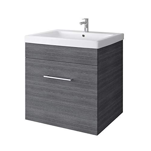 Planetmöbel Waschtischunterschrank hängend mit Keramikwaschbecken 60cm für Badezimmer WC (Anthrazit)