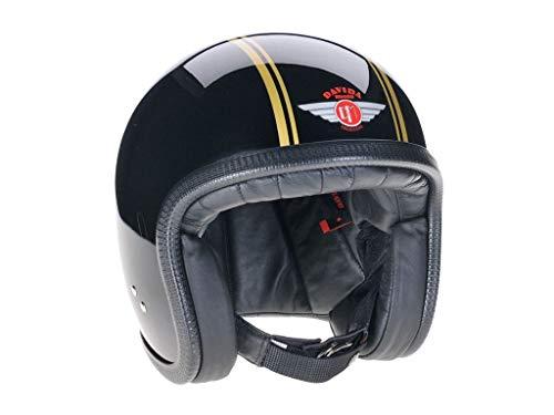 Davida Jethelm Speedster V3 Schwarz Gold Openface Motorradhelm Classic Helm, L