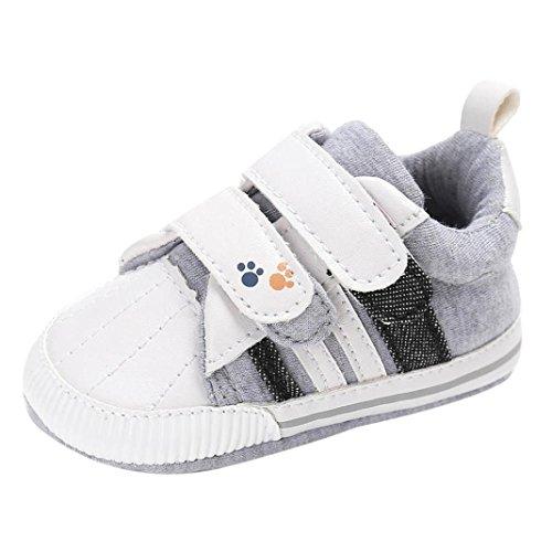 FNKDOR Baby Neugeborene Schuhe, Jungen Mädchen Klettverschluss Weiche rutschfest Lauflernschuhe (0-6 Monate, Weiß)