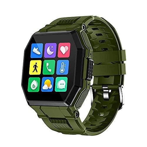 Hombres Llamada Bluetooth Inteligente Reloj, Toque Completo Relojes Oxígeno En Sangre/PresióN/Ritmo Cardiaco Sueño Monitor InformacióN Recordatorio 8-Deportes Modos IP67 Prueba Agua(Color:Verde)