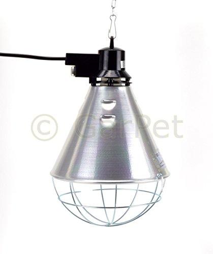 GarPet Aluminium Reflektor Schutzgitter Komplett Set Wärme Infrarot Lampe Wärmestrahler (Wärmestrahler mit roter Lampe)