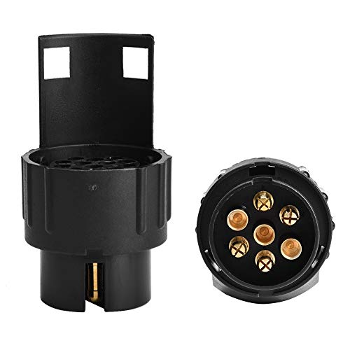 Adaptador compatible con 7pin a 13pin, adaptador de enchufe de viaje de 12V con ABS y COBRE PARA CARAVAN DE TRAILER (NEGRO)