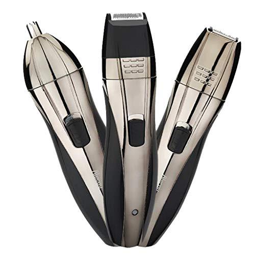 PLMOKN 3 in 1 Nasenhaarschneider für Männer Frauen Wiederaufladbarer Gesichtshaarschneider Wasserdichtes, schmerzfreies elektrisches Haarschneidekit für Kotelettenbart-Augenbrauen