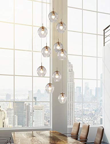 10 Bolas de vidrio Escalera Araña Colgante largo Luz Edificio dúplex Araña grande Sala de estar Villa Hollow Lámpara minimalista de escalera minimalista 55x200cm