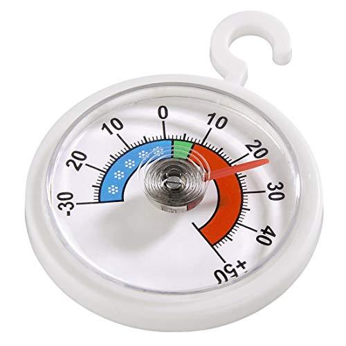 Xavax Analoges Thermometer (zum Aufhängen im Kühlschrank, Gefrierschrank, Tiefkühltruhe, Weinkühlschrank, Minibar, min. -30 Grad, Max. +50 Grad, rund) weiß