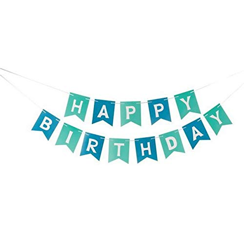 US Warehouse - Party DIY Decorations - Pastel Perfection Garland Gold Foiled Happy Birthday Bunting Banner Party Decor Cloth Kids Happy Birthday Gifts Party Supplies - (Color: BU)