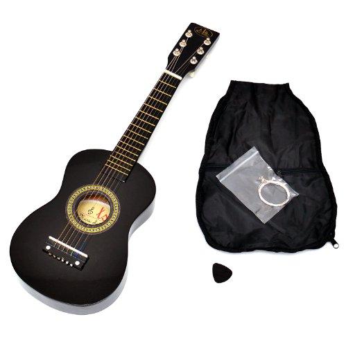 Guitarra para Niños, Guitarra de madera de 59 cm en negro, a partir de 3 años, Incluye bolsa y cuerdas para repuesto