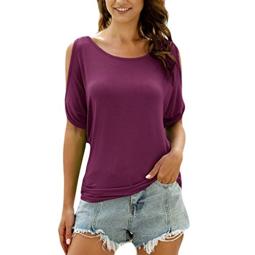 TOWAKM Oberteil Damen T Shirt Kurzarm V Ausschnitte T-Shirt Off Shoulder Tops Bluse,S-3XL(Lila,XL)