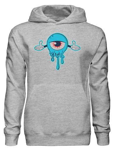Sudadera con capucha azul espeluznante ojo monstruo bnft, gris, XXL