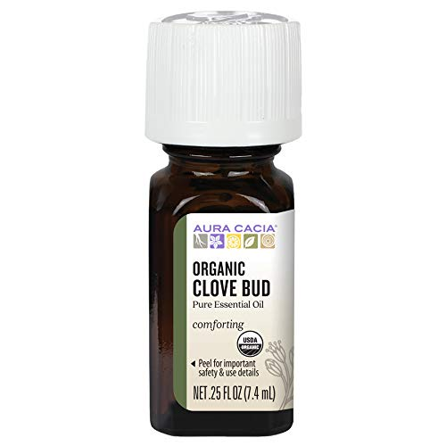 Aura Cacia 100% Pure Clove Bud Essential Oil | Certified Organic, GC/MS Tested for Purity | 7.4 ml (0.25 fl. oz.) | Syzygium aromaticum
