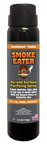 Smoke Eater - Breaks Down Smoke Odor at the Molecular Level - Eliminates Cigarette, Cigar or Smoke On Clothes, in Cars, Homes, and Office - 3.5 oz Travel Spray Bottle (Sandalwood Vanilla)