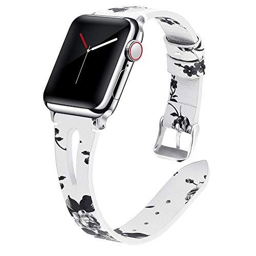 Miimall - Correa de reloj de piel compatible con Apple Watch serie 1, 2, 3, 4, 5, 44 mm, 42 mm