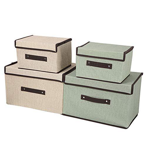 mreechan Caja de Almacenamiento Plegable, 4 Cajas de Almacenamiento Plegables con Tapas, Cubos de Almacenamiento en organizadores de algodón y Lino para Juguetes, Ropa, Libros, y más