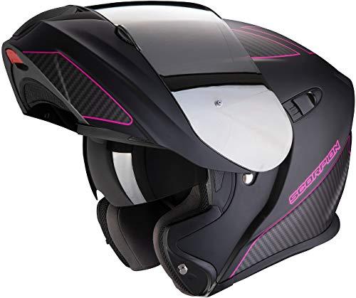 Scorpion Motorradhelm EXO-920 FLUX Matte Black-Pink, Schwarz/Rosa, S