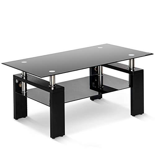 Mesa de centro de cristal templado ACVCY para salón, rectangular de color negro, con estante inferior, patas de madera, tamaño: 100 x 60 x 45 cm