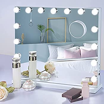 NEKL Hollywood Makeup Mirror with 15 Dimmable LED Bulbs